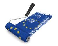 有欧盟(包括的裁减路线的)旗子的漆滚筒 库存图片
