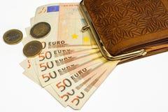 有欧洲货币的钱包 免版税库存照片