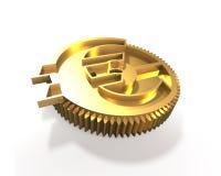 有欧洲标志的, 3D金黄齿轮例证 免版税库存照片