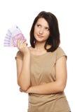 有欧洲现金的妇女 免版税库存图片