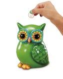 有欧洲近的猫头鹰银行的手 免版税库存图片