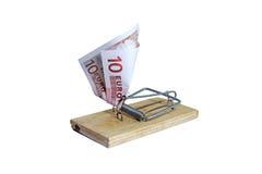 有欧洲钞票的捕鼠器作为诱饵 库存图片