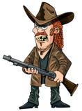 有步枪的动画片农场工人 免版税库存图片