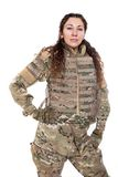 有步枪的美丽的军队女孩 库存图片