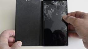 有残破的玻璃的手机屏幕发生 影视素材