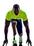 有残障的人慢跑者直线腿假肢剪影 库存照片