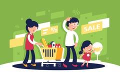 有母亲、父亲和孩子的,购物中心的女儿平的大家庭 向量例证