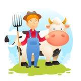 有母牛的农夫 库存图片