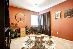 有母牛皮肤地毯的橙色办公室室 库存照片