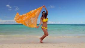 有比基尼泳装和帽子的女孩享受她的夏天加勒比假期的 异乎寻常的海岛和海滩 股票视频