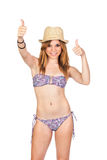 有比基尼泳装的新偶然女孩 库存照片