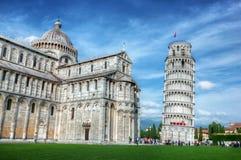 有比萨斜塔的比萨大教堂,托斯卡纳,意大利 图库摄影