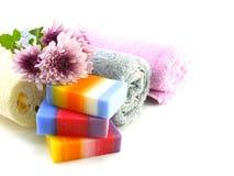 有毛巾的五颜六色的混合果子清洗的肥皂和luffa 库存照片