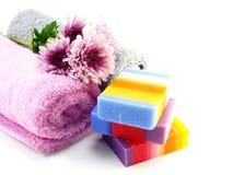 有毛巾的五颜六色的混合果子清洗的肥皂和luffa 免版税库存照片