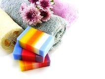 有毛巾的五颜六色的混合果子清洗的肥皂和luffa 免版税图库摄影