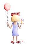 有气球和冰淇凌的女孩 免版税库存图片