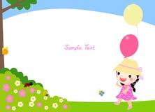 有气球的一个小女孩 免版税库存照片