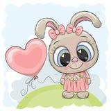 有气球的兔子女孩在草甸 库存例证