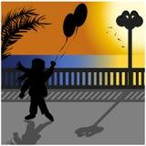 有气球的子项 免版税库存图片