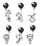 有气球的孩子 免版税库存图片