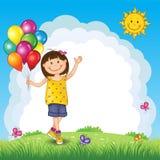 有气球的小女孩在风景 向量例证