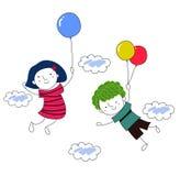 有气球的男孩和女孩 图库摄影