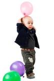 有气球的男孩 库存照片