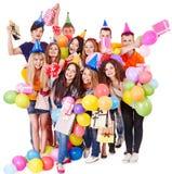 有气球的组人在当事人。 库存照片