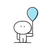 有气球的逗人喜爱的人 皇族释放例证