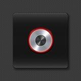 有氖的银色按钮在黑色 免版税库存图片