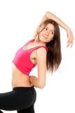 有氧舞蹈演员健身姿势样式 免版税库存照片