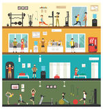 有氧运动力量健身平展内部室外概念网-例证 库存图片