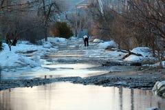 有水坑的农村路和解冻的雪春天 免版税库存图片