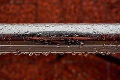 有水滴的一支新的金属光亮的管在雨以后的 库存图片