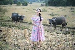 有水牛的美女 免版税图库摄影