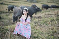 有水牛的美女 免版税库存图片