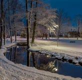 有池塘、桥梁和灯笼的白色雪冬天夜公园 免版税库存图片