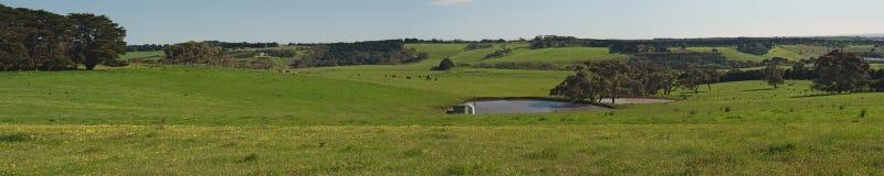 有池塘和小山的全景 免版税库存图片