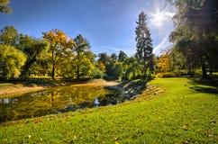 有池塘的公园在秋天期间 免版税库存照片