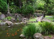 有池塘的日本庭院 库存照片