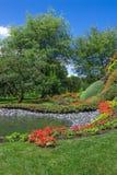 有池塘的明亮的夏天庭院 免版税库存照片