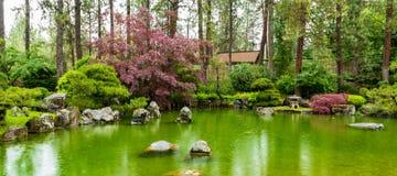 有池塘的西宫Tsutakawa日本庭院n Manito公园和腼腆的鱼在雨中 免版税图库摄影