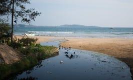 有污染问题和乌鸦的恶劣的亚洲村庄 塑料瓶、袋子和污水滴下了直接地入海洋 免版税图库摄影