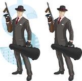 有汤米枪的动画片白种人黑手党成员 免版税库存图片