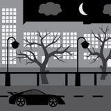 有汽车、树和楼的eps10夜街道 免版税库存照片