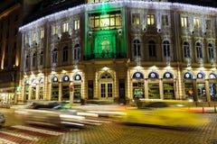 有汽车光的都市城市道路在索非亚,保加利亚落后 库存图片