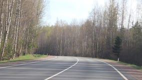 有汽车的俄国柏油路 沿路的树 汽车在路去 俄罗斯,列宁格勒地区2019年4月30日 股票录像