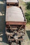 有汽车的老肮脏的货物火车 免版税库存图片