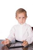 有沉思神色的严密的企业男孩 免版税库存图片