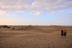 有沙丘的沙漠在大加那利岛西班牙 免版税图库摄影